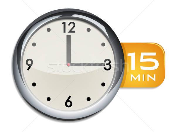 Iroda fal óra időzítő 15 jegyzőkönyv Stock fotó © ayaxmr