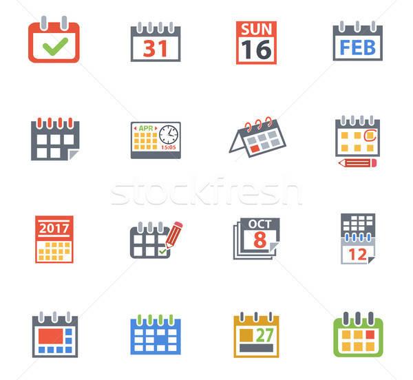 Naptár ikon gyűjtemény webes ikonok felhasználó interfész terv Stock fotó © ayaxmr