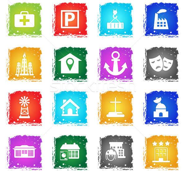 infrastructure icon set Stock photo © ayaxmr