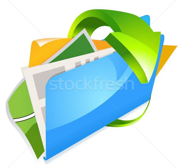 Map documenten geïsoleerd witte computer papier Stockfoto © ayaxmr