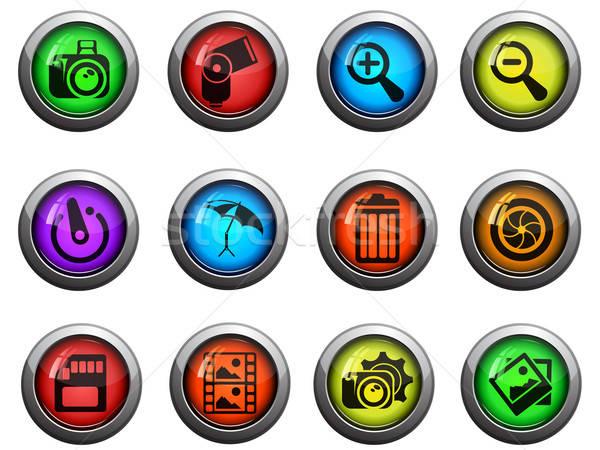 Photography icons set Stock photo © ayaxmr