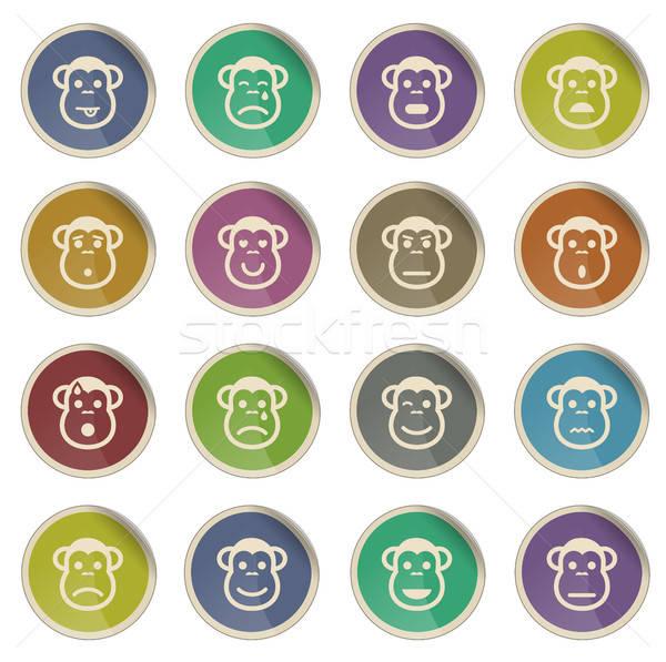 Scimmia emozioni semplicemente icone etichetta web Foto d'archivio © ayaxmr