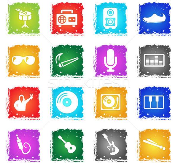 Zene ikon gyűjtemény vektor webes ikonok grunge stílus Stock fotó © ayaxmr