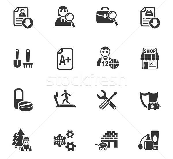 álláskeresés ikon gyűjtemény webes ikonok felhasználó interfész terv Stock fotó © ayaxmr