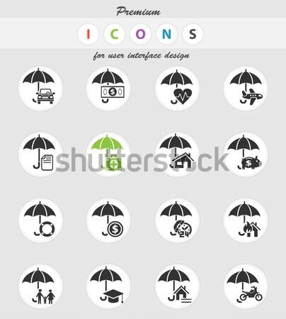 insurance icon set Stock photo © ayaxmr