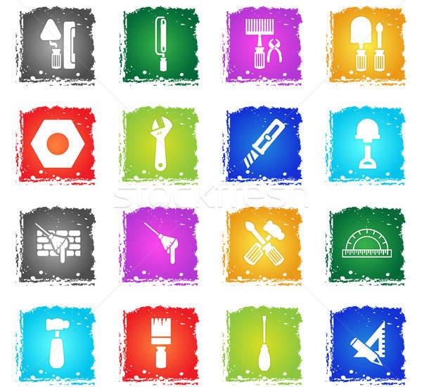 çalışmak araçları web simgeleri grunge stil Stok fotoğraf © ayaxmr