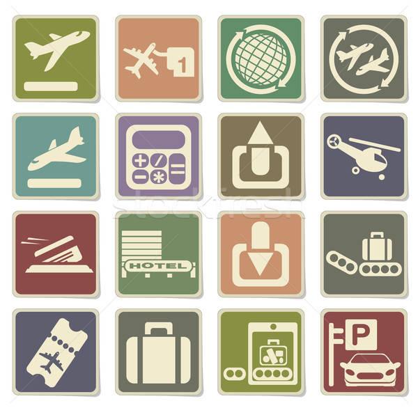 Aeroporto ícone teia usuário interface Foto stock © ayaxmr