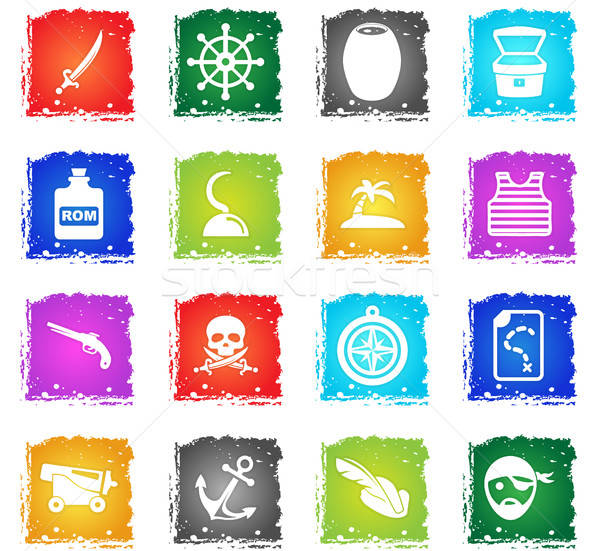 Stock fotó: Kalózok · ikon · gyűjtemény · vektor · webes · ikonok · grunge · stílus