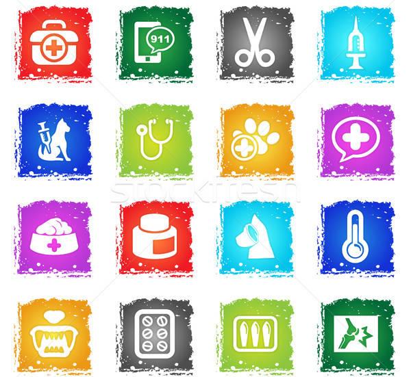 veterinary clinic icon set Stock photo © ayaxmr
