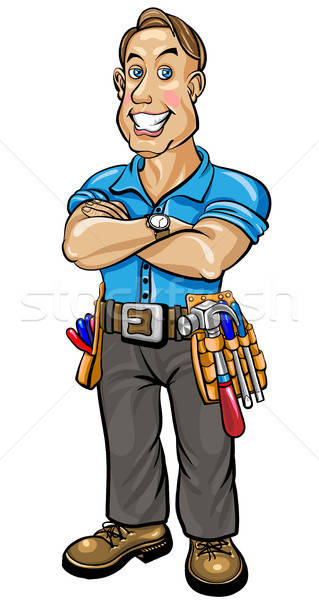 Builder man with snow-white smile Stock photo © ayaxmr