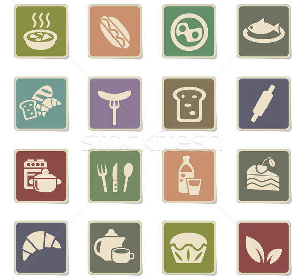 étel konyha ikon gyűjtemény webes ikonok felhasználó interfész Stock fotó © ayaxmr