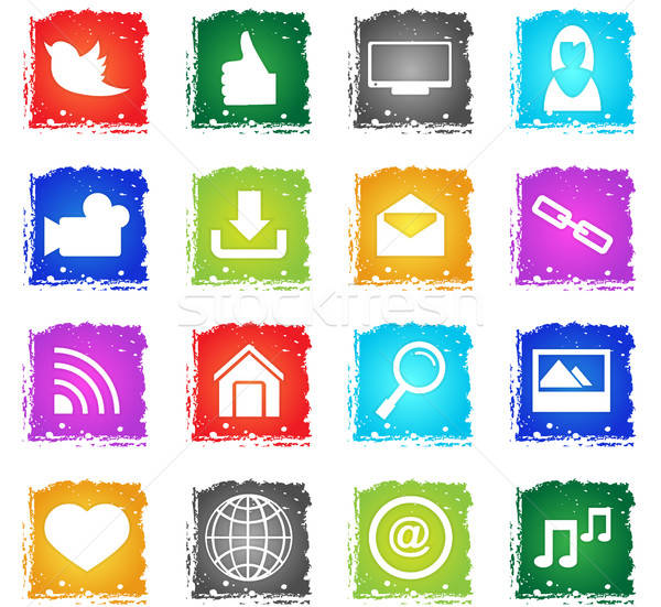 Social media vector web icons grunge stijl Stockfoto © ayaxmr