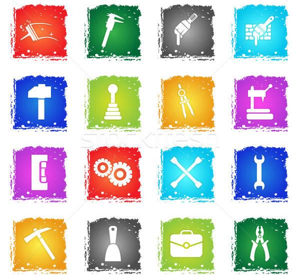 Munka szerszámok ikon gyűjtemény vektor webes ikonok grunge Stock fotó © ayaxmr