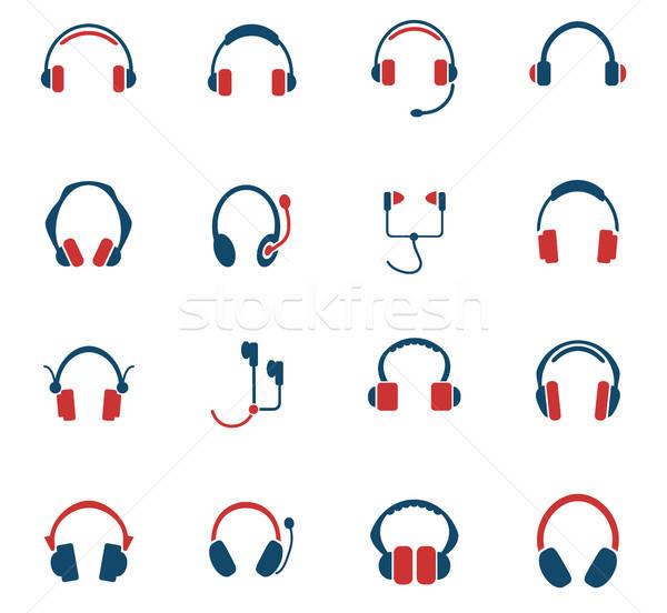 headphones icon set Stock photo © ayaxmr