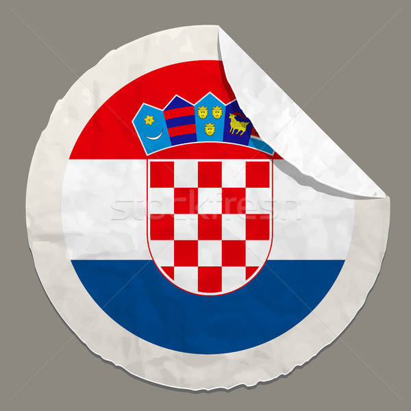 Croatia flag on a paper label Stock photo © ayaxmr