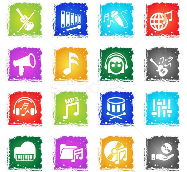 Música iconos de la web grunge estilo usuario Foto stock © ayaxmr