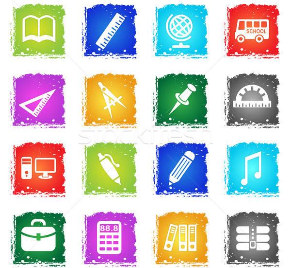 Escuela iconos de la web grunge estilo usuario Foto stock © ayaxmr