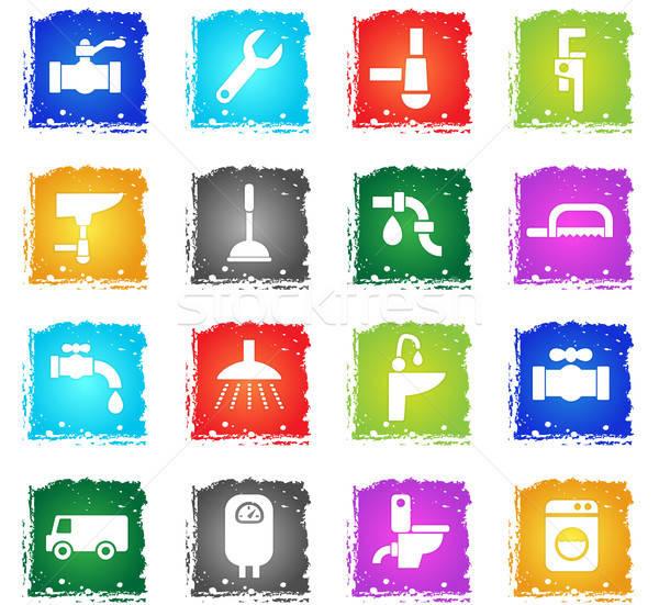 Fontanería servicio iconos de la web grunge estilo Foto stock © ayaxmr