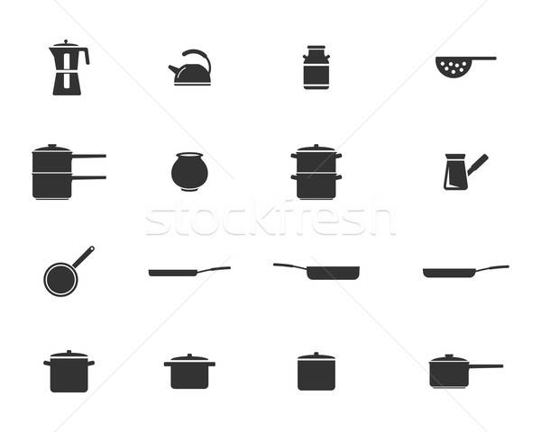 Dishes simply icons Stock photo © ayaxmr