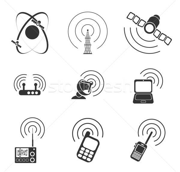 Stockfoto: Radio · signaal · eenvoudige · vector · iconen · eenvoudig
