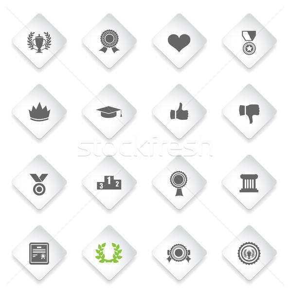 Trofee prijs symbool icon witte ontwerp Stockfoto © ayaxmr