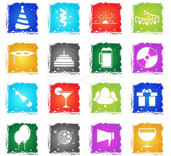 Party vettore icone web grunge stile Foto d'archivio © ayaxmr