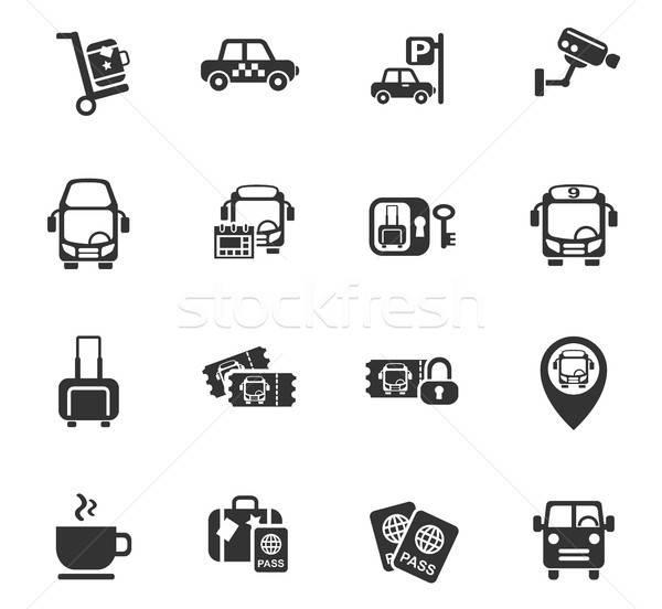 Autobús estación iconos de la web usuario interfaz Foto stock © ayaxmr