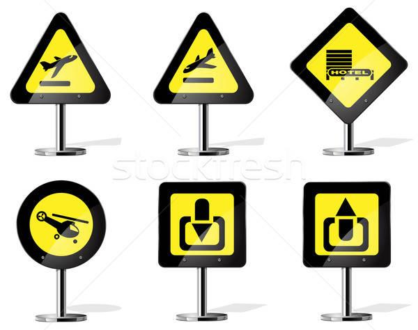 Yol işareti simgeler vektör web otel Stok fotoğraf © ayaxmr