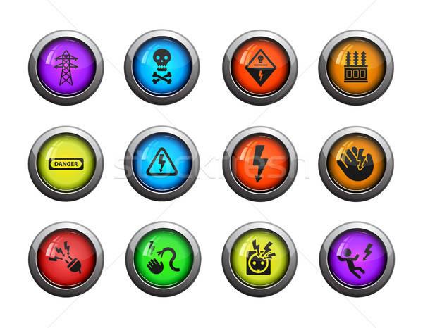 высокое напряжение просто иконки веб пользователь Сток-фото © ayaxmr