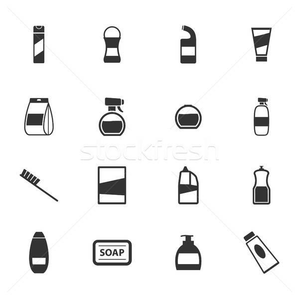 Vegyszerek ikon szett fekete sziluett egyszerűen ikonok Stock fotó © ayaxmr