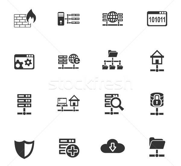 Hosting ikon gyűjtemény webes ikonok felhasználó interfész terv Stock fotó © ayaxmr