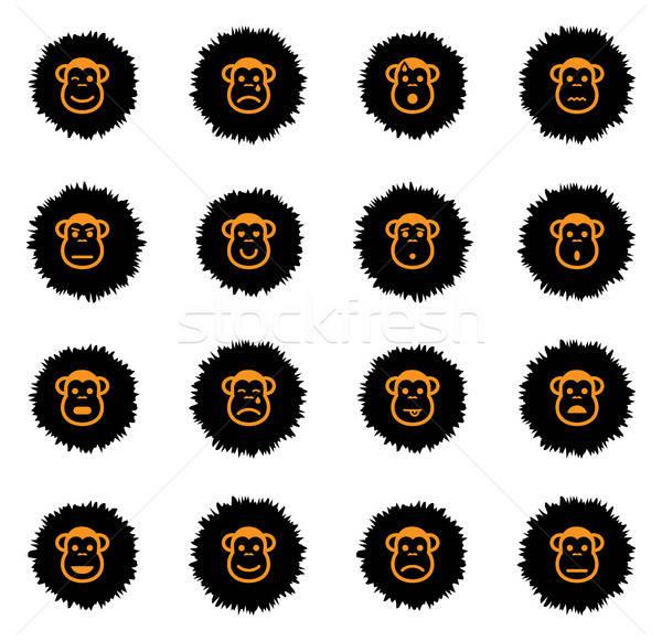 обезьяны просто иконки вектора веб Сток-фото © ayaxmr