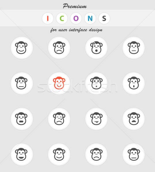 Scimmia emozioni semplicemente icone vettore web Foto d'archivio © ayaxmr