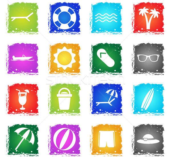 Playa simplemente iconos símbolo grunge estilo Foto stock © ayaxmr