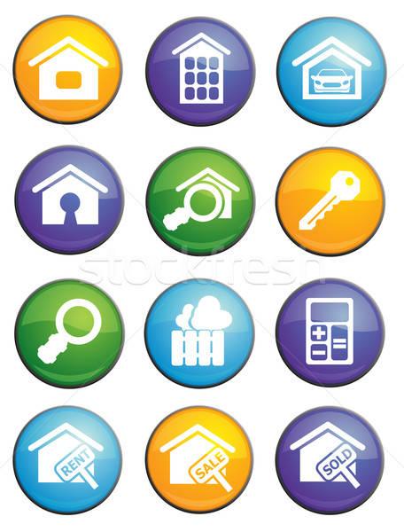 Onroerend glanzend iconen website gebruiker Stockfoto © ayaxmr