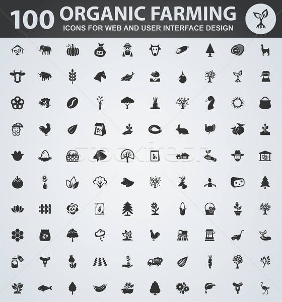 Organic farming icons set Stock photo © ayaxmr