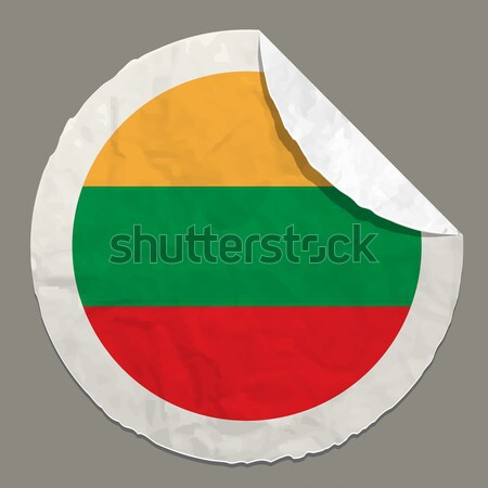 Lithuania flag on a paper label Stock photo © ayaxmr
