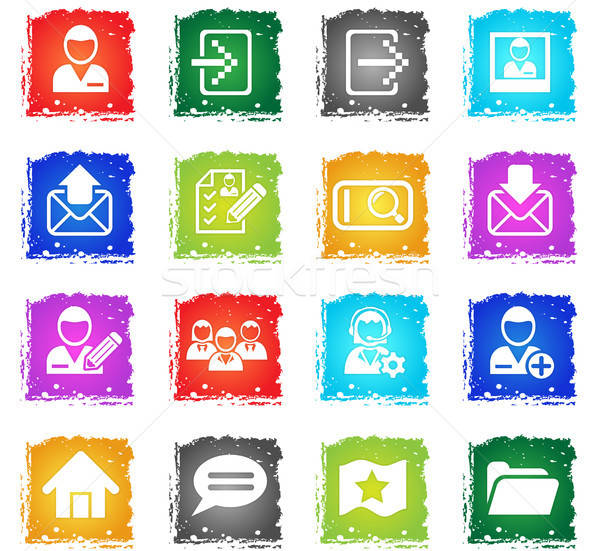 Grunge estilo os ícones do web usuário interface Foto stock © ayaxmr