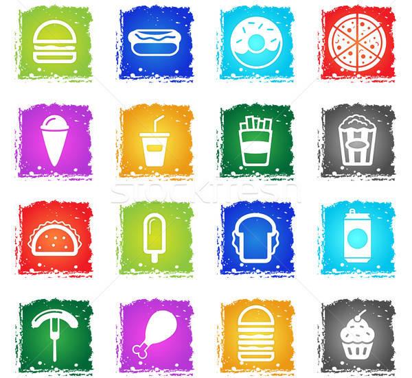 Fast-food simplesmente ícones símbolo grunge estilo Foto stock © ayaxmr