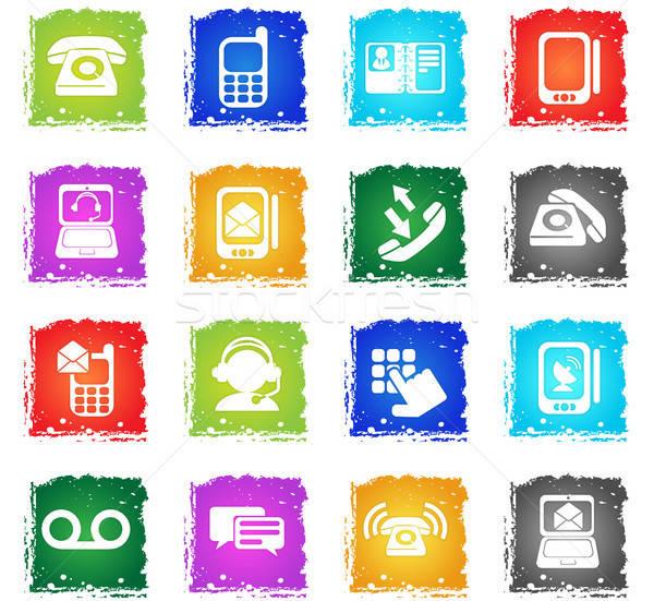 Telefon ikon gyűjtemény egyszerűen szimbólumok grunge stílus Stock fotó © ayaxmr