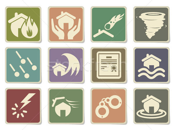 Home Insurance Icons Stock photo © ayaxmr