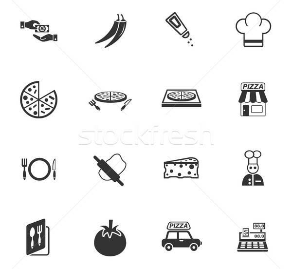 Pizzería iconos de la web usuario interfaz diseno Foto stock © ayaxmr