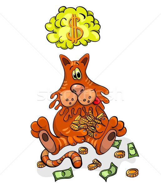 Rajzfilmfigura boldog macska pénz művészet siker Stock fotó © ayaxmr