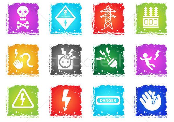 Alta tensão os ícones do web grunge estilo usuário Foto stock © ayaxmr