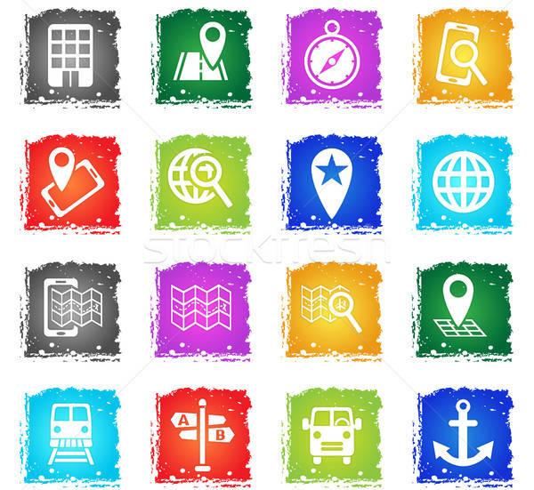 Navegação transporte mapa os ícones do web grunge Foto stock © ayaxmr