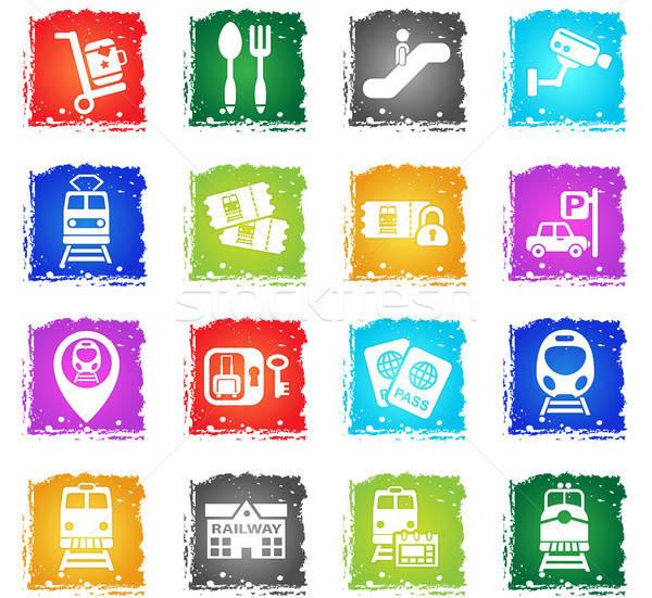 Estação de trem os ícones do web grunge estilo usuário Foto stock © ayaxmr