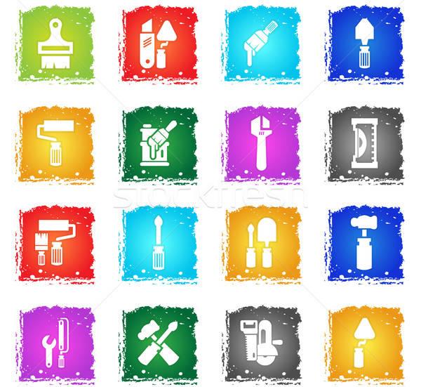 Travaux outils vecteur icônes web grunge Photo stock © ayaxmr