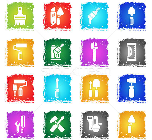 Werk tools vector web icons grunge Stockfoto © ayaxmr