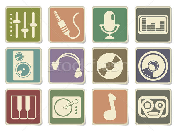 Audio and music simple vector icons Stock photo © ayaxmr