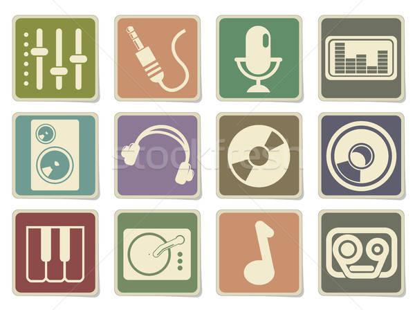 аудио музыку простой вектора иконки Сток-фото © ayaxmr
